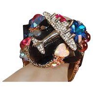 Vintage Simulated Gem Encrusted Airplane Signed Wendy Gill Cuff Bracelet