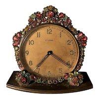 Rare Original By Robert Signed Vintage Rhinestone Framed Cima Swiss Watch Co Alarm Clock