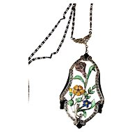 EXQUISITE Art Deco Enameled Figural Flowers Sterling Silver Necklace & Chain!