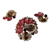 Juliana DeLizza & Elster Layered Pink & Iridescent Rhinestone Brooch & Earrings