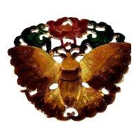 RARE Kenneth Lane Estate Prototype Enameled Brooch w/Butterfly & Lotus Flower