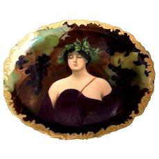 "STUNNING T&V Limoges France ""Daphne"" Art Nouveau Lady Portrait Platter!"