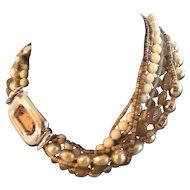 RAVISHING Signed Ciner Vintage Multi-Strand Beaded Necklace w/Amber Rhinestone!