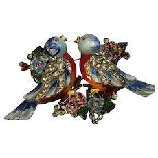 RARE & EXQUISITE Enameled CORO Duette Blue Birds & Flowers w/Rhinestones!