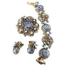 Juliana D&E Blue Matrix & Rhinestones Bracelet, Brooch & Earrings Flowers!