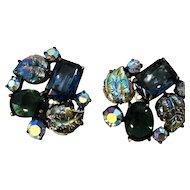 FABULOUS Schiaparelli Molded Iridescent Leaf & Huge Rhinestone Earrings!