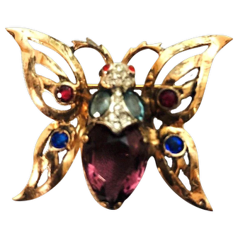 Gorgeous REJA Rhinestone & Sterling Silver Gold Wash Figural Butterfly Brooch