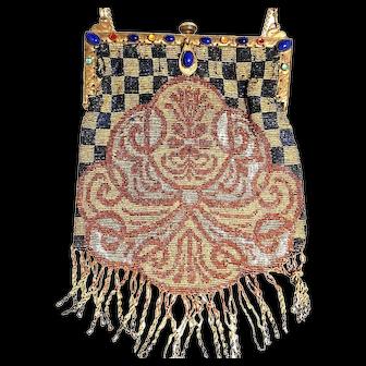SUPERB Antique Micro Beaded Art Deco Handbag w/Swan Figural Chain Holder