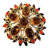 Unusual Juliana DeLIzza & Elster Topaz Cabochon & Orange Stone Verified Brooch