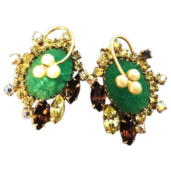 Stunning Large HOBE Faux Jade Earrings with Rhinestones and Faux Pearls