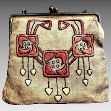 Arts & Crafts Antique Purse Handbag w/Salmon & Pale Yellow Embroidery Linen