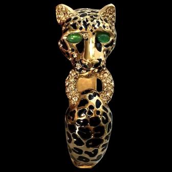 RARE Ciner Leopard Figural Bracelet w/Rhinestones & Green Cabochon Eyes!