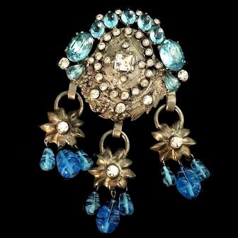 Huge Eisenberg Original Clip with Glass Blue Swirled Glass Drops & Rhinestones