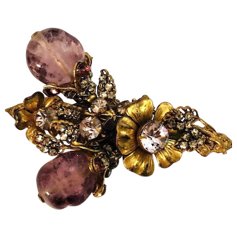 INCREDIBLE Miriam Haskell Signed Flower & Glass Amethyst Bead Brooch!