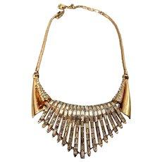 Glamorous Corocraft Waterfall Rhinestone Embedded Vintage Necklace