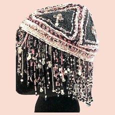 Rare Original Flapper All Over Beaded Cap w/Surrounding Dangling Beads,Crystals