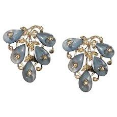 Alfred Philippe Crown Trifari Art Deco Shoe Button & Rhinestone Fabulous Clips