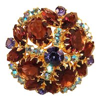 MAGICAL Juliana DeLizza & Elster Amethyst Large Rhinestone & AB Stone Brooch