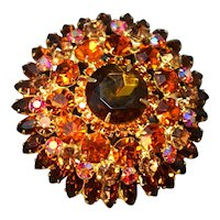 Juliana DeLizza & Elster Large Domed Dimensional Rhinestone Embedded Brooch!