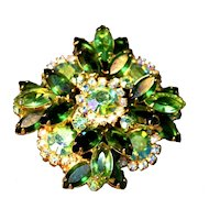 Juliana DeLIzza & Elster Iridescent Green Layered Dimensional Rhinestone Brooch!
