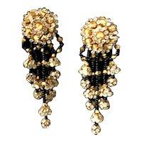 Ravishing Vintage Shimmering Rhinestone Inset & Seed Pearl Dangle Earrings!