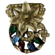 "Art Deco Rhinestone & Fruit Salad Molded Stones ""Flower"" Dress Clip"