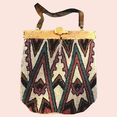 Antique Art Deco Micro Beaded Geometric Bakelite Carved Frame Handbag or Purse!