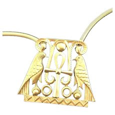 Crown Trifari Egyptian Revival Large Falcon Pendant & Heavy Snake Chain