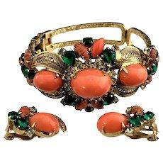 Book Set Juliana D&E Coral High Domed Cabochon & Rhinestone Bracelet & Earrings