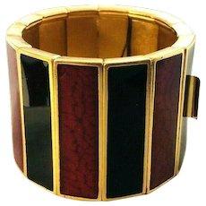 EXCEPTIONAL Vintage Y.S.L. Yves St. Laurent Enameled Wide Bracelet! Hang Tag