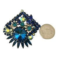 Juliana DeLizza & Elster Iridescent Watermelon Peacock Blue Rhinestone Brooch