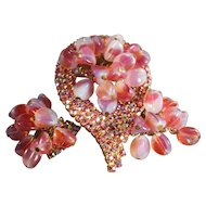 Iridescent Pink AB Rhinestone With Givre Dangle Beads Vintage Brooch & Earrings