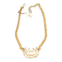 Vintage Yves St. Laurent YSL Simulated Pearl & Rhinestone Designer Necklace