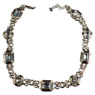 Rhodium Plated Christian Dior Aqua Blue Faceted Crystal Rhinestone Necklace