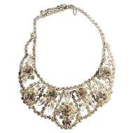 Shimmering Vintage Juliana DeLizza & Elster Rhinestone Bib Necklace