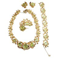 RARE Signed Boucher Necklace, Bracelet, Brooch & Earring Set w/Art Glass Cabochons & Rhinestones