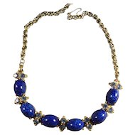 Signed Schiaparelli Mottled Blue Cabochon and Rhinestone Vintage Necklace