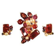 Spectacular Signed Vintage Kramer Rose Pink Art Glass Foil Bead Brooch & Earrings