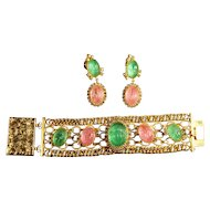 RARE Egyptian Revival Pink & Green Scarab Signed Hobe Wide Runway Bracelet & Large Dangle Earrings
