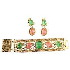 RARE Egyptian Revival Pink & Green Scarab Signed Hobe Wide Runway Bracelet & Large Dangle Earrings
