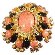 Spectacular Juliana DeLizza & Elster Simulated Coral Cabochon/Iridescent Rhinestone Brooch