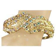 Simmering Iridescent Aurora Borealis Rhinestone Clamper/Cuff Vintage Bracelet