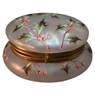 Antique Iridescent Satin Glass Ormolu Mounted Hand Decorated Dresser Jar/Box