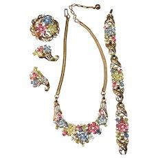 Alfred Philippe Crown Trifari SPECTACULAR Rhinestone Embedded Necklace, Bracelet, Brooch & Earrings