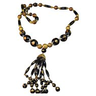 Sassy Vintage Crown Trifari Black & Gold Colored Bead Tassel Necklace