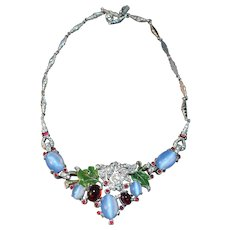 RARE Alfred Philippe Art Deco Style Vintage Blue Simulated Moonstone, Rhinestone & Enamel Necklace