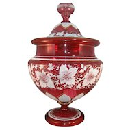 MAGNIFICENT Large Covered All Over Decorated Swirling Vines Cranberry Moser Punch Bowl w/Lid