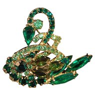 Juliana DeLizza & Elster Figural Swan Rhinestone  Book Piece Brooch