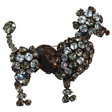 Fabulous & Rare Unsigned Vintage Schreiner Figural Rhinestone Embedded Poodle Dog Brooch