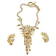 Luscious Vintage Juliana DeLizza & Elster Dangle Flower Rhinestone Necklace & Earrings!